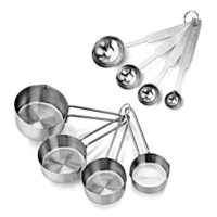 New Star Foodservice 42917 Stainless Steel Measuring Spoons and Cups Combo, Set of 8, Silver