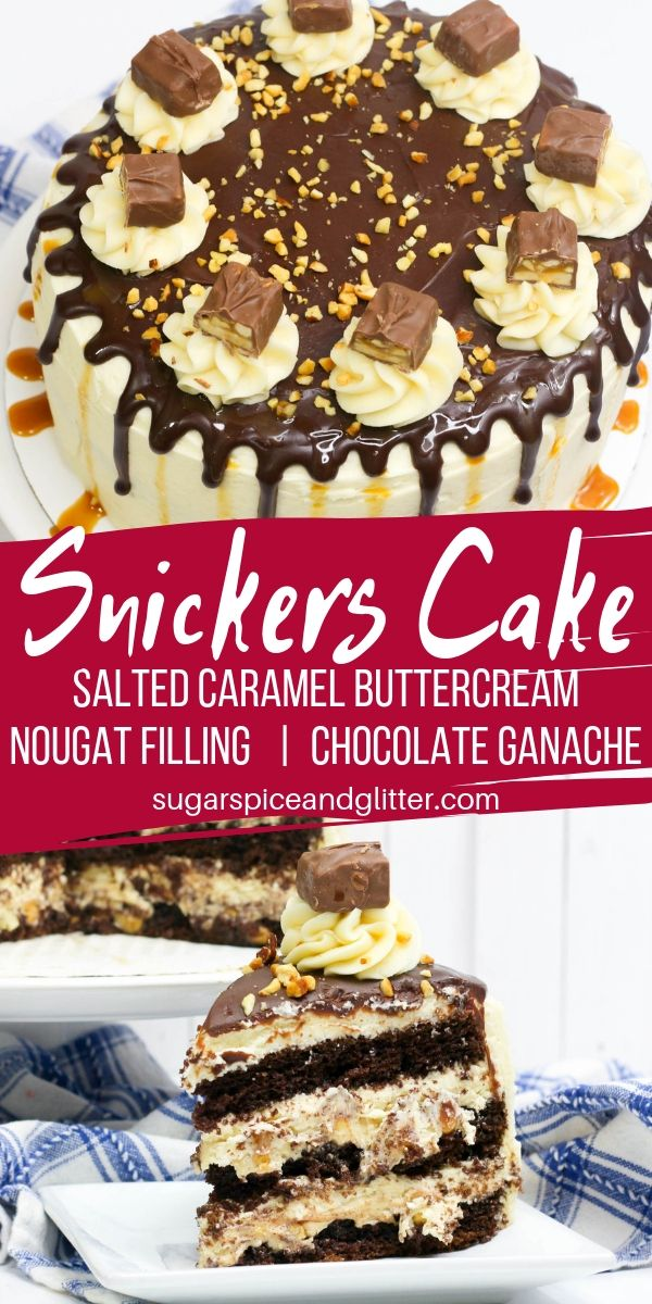 Three layers of chocolate cake. Homemade nougat filling. Salted caramel buttercream frosting. Chocolate ganache drips. You need this SNICKERS CAKE in your life!