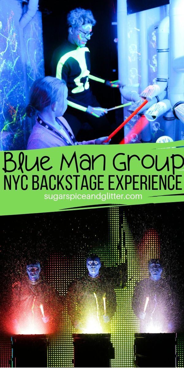 Jam backstage with members of the Blue Man Group. An honest family review of this unique NYC experience for kids