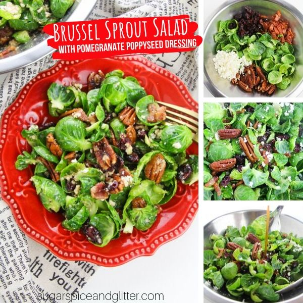 A fresh and delicious brussel sprout salad topped with pomegranate poppyseed dressing is perfect for fall!