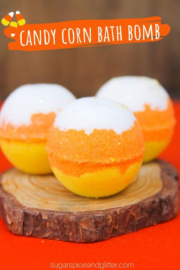 This DIY Candy Corn Bath bomb is a fun fall craft or homemade gift for the candy corn lover in your life