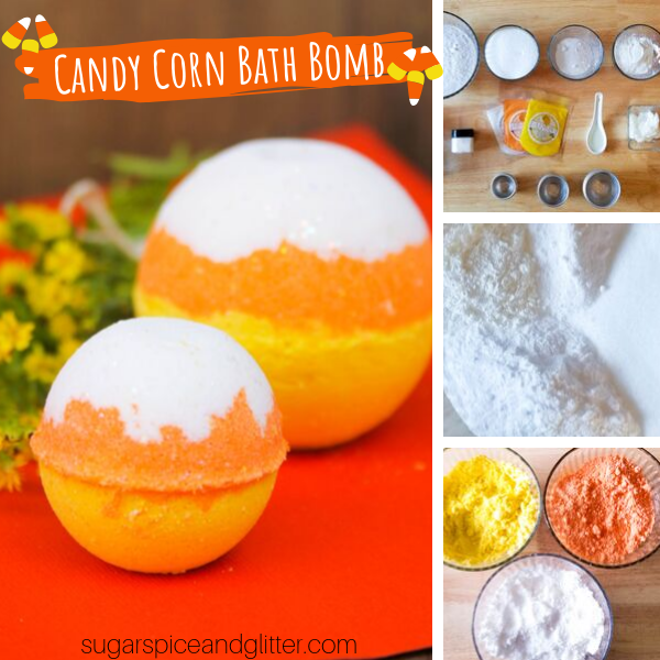 How to make candy corn bath bombs - a super simple fall craft with a bright candy corn scent!