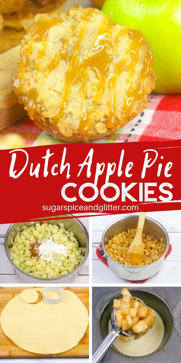 Brown sugar streusel topping. Caramelized apple filling. And buttery pie crust bottom. These Dutch Apple Pie Cookies have it all!