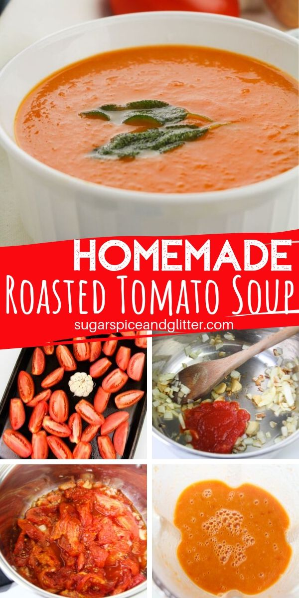 A delicious homemade tomato soup recipe made with roasted tomatoes - and it packs in 4 servings of vegetables per serving! A great way to get kids to eat their veggies