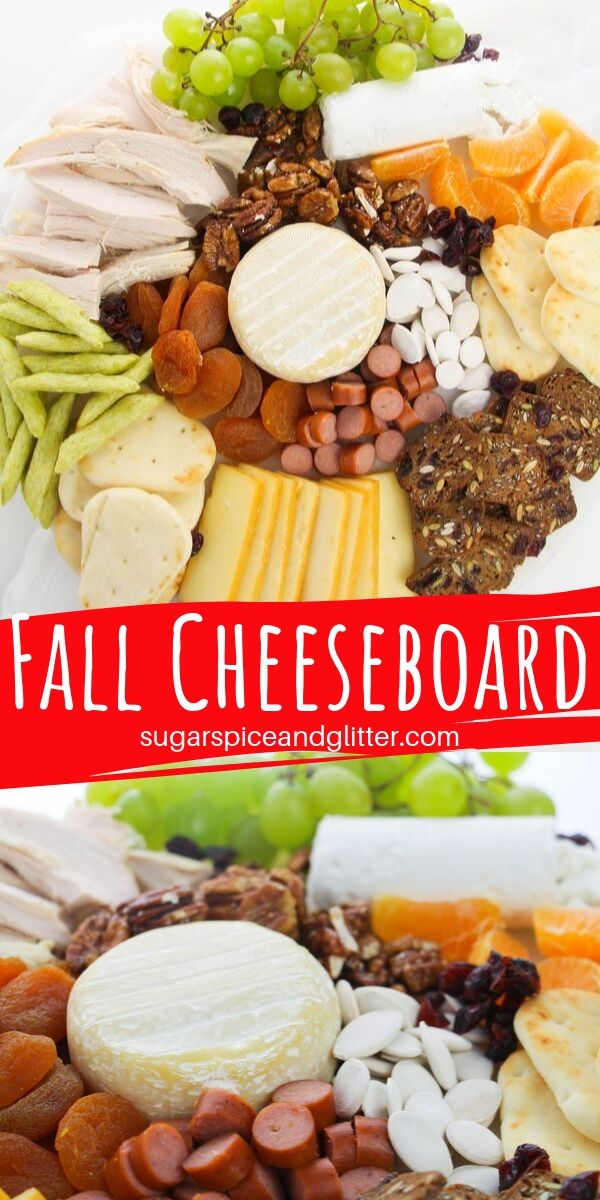 How to make the ultimate fall cheeseboard for your fall party. How to combine different cheeses and snacks and make it look beautiful