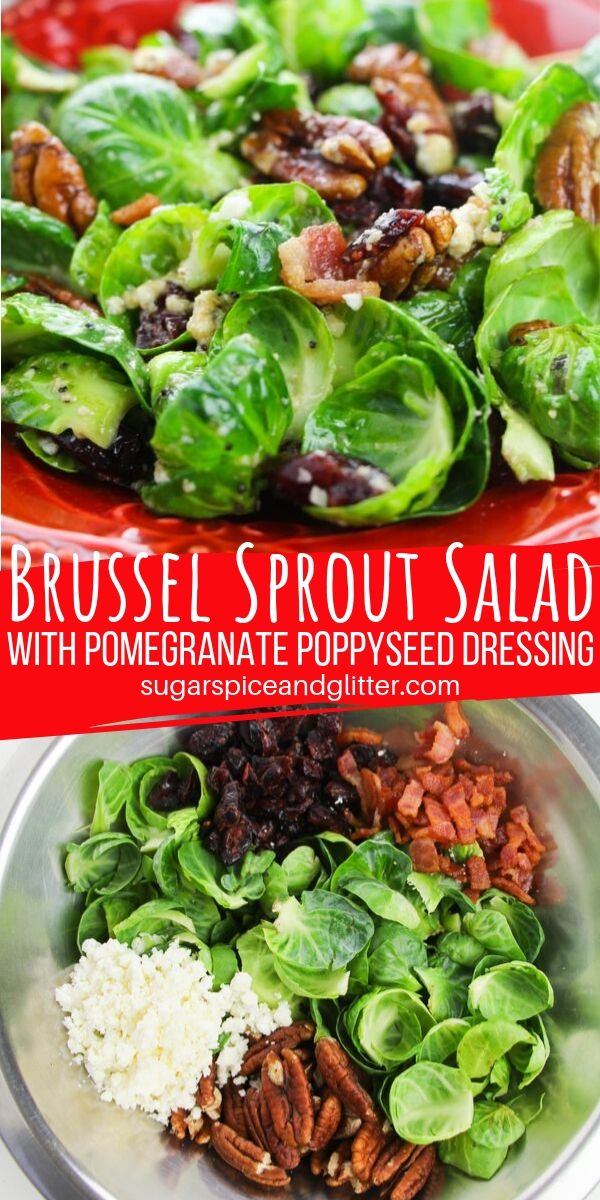 The best fall salad! This brussel sprout salad with feta cheese, pecans, dried cranberries and fresh bacon bits is topped with pomegranate poppyseed dressing for the most delicious salad you will make this fall!