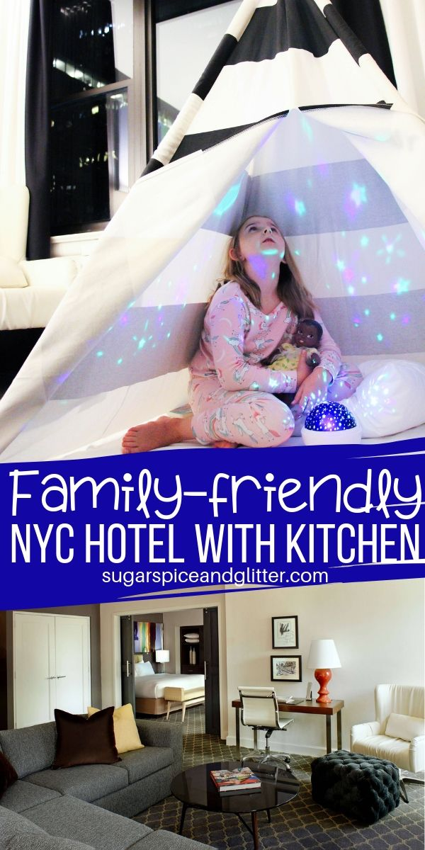 Staying in NYC doesn't have to be expensive! This Midtown Manhattan hotel has it all: great service, full kitchens in-suite, and perks for the kids! No need to stay in Jersey to save money