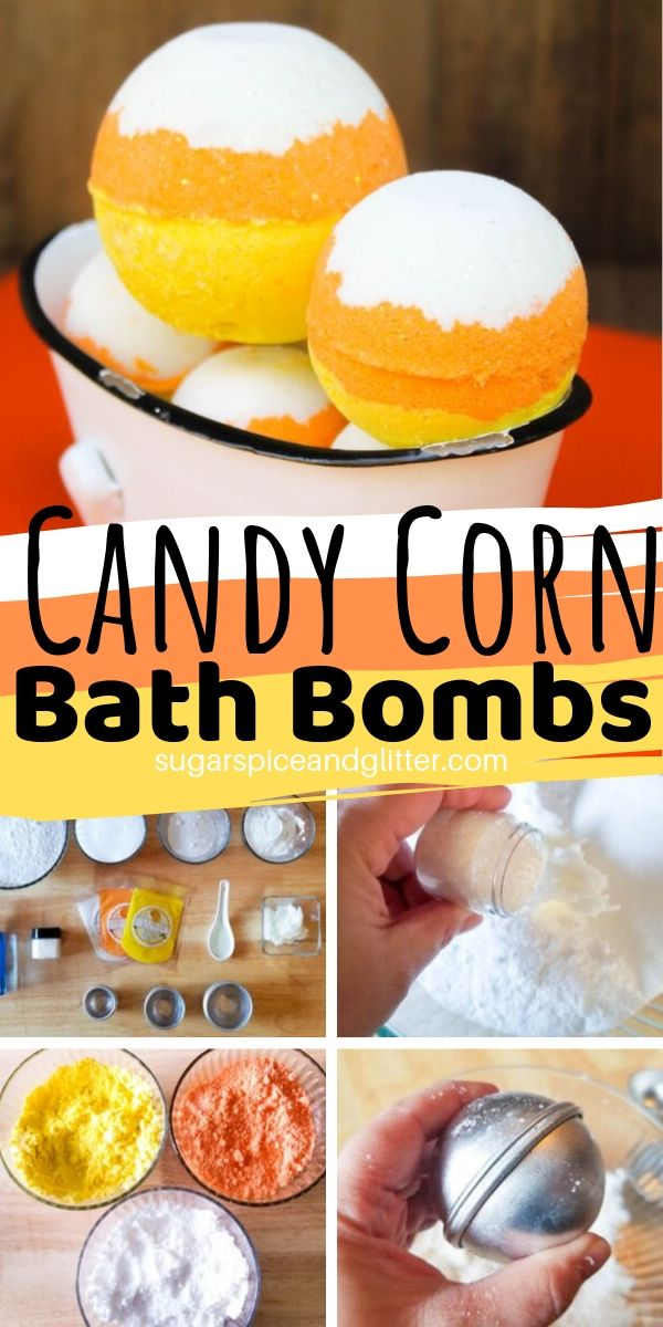 The ultimate candy corn craft for fall - these Candy Corn Bath Bombs smell just like the real thing and make such a cute gift or addition to your bathroom decor