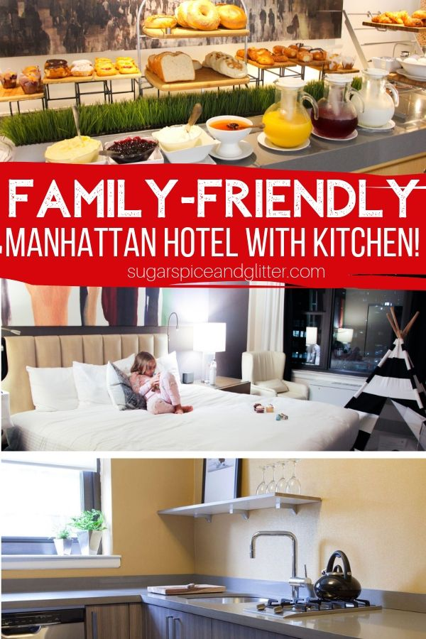 Planning a NYC family vacation? This midtown Manhattan hotel features full in-room kitchens, perks for the kids, and is just blocks away from major NYC attractions
