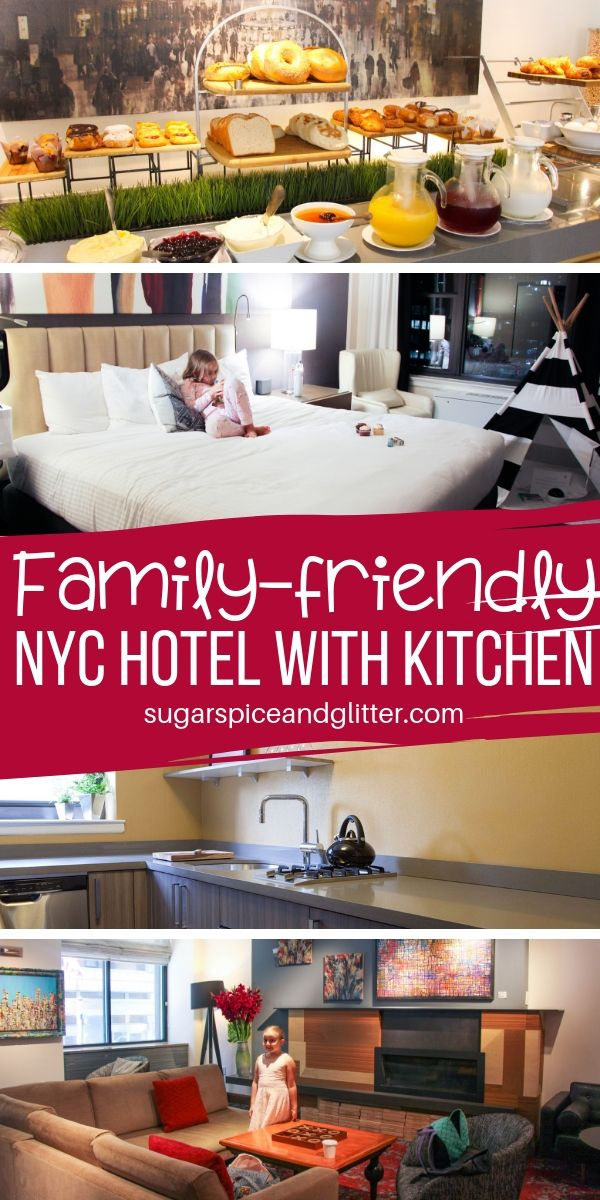 Heading to NYC on a budget? Save money AND stay in the heart of Manhattan at this family-friendly hotel that lets you save money with it's in-suite kitchens!