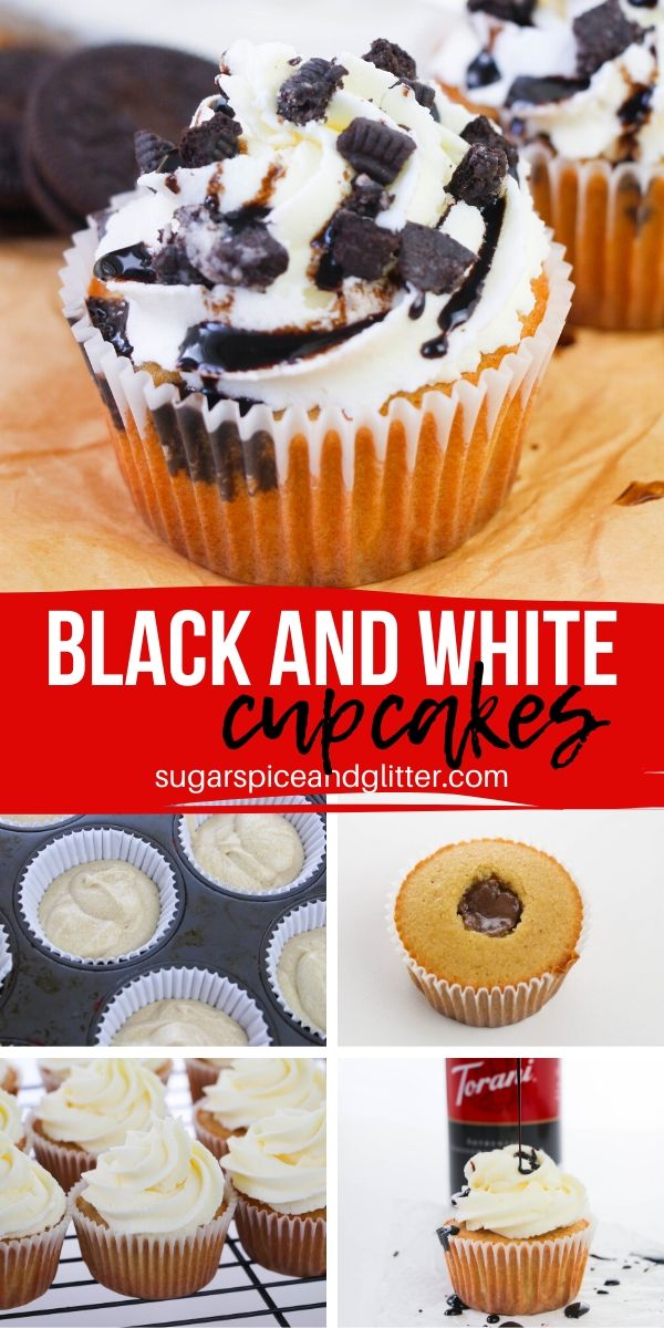 You won't believe how easy these White Mocha Cupcakes with White Chocolate Frosting and Cookies and Cream Ganache Filling are! And so decadent!