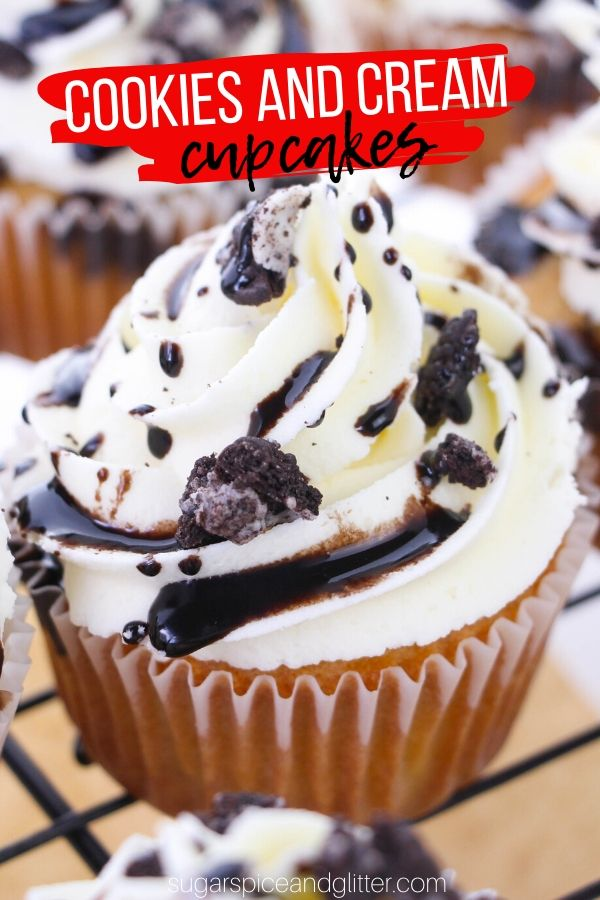 A delicious White Mocha Cupcake with White Chocolate Frosting and a Cookies and Cream Ganache filling - decadence in a cupcake!