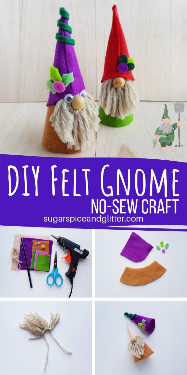 Grab your free printable template to make these super simple DIY Felt Gnomes, a no-sew craft and a magical craft for kids
