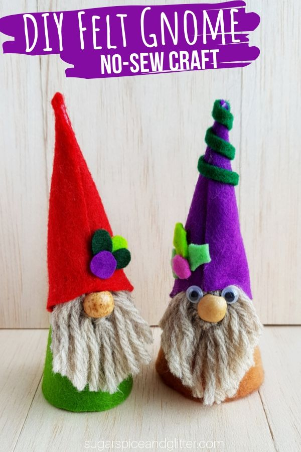 A super simple winter craft for kids, these DIY Felt Gnomes require no sewing and are such a cute addition to your winter decor