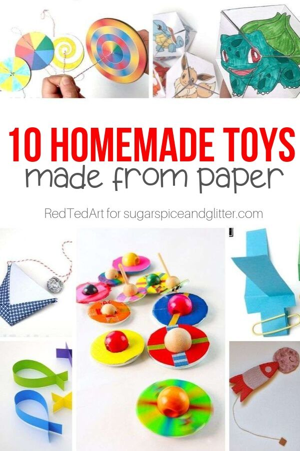 10 super simple homemade toys you can make with paper! These paper crafts are great for rainy days or afterschool crafting