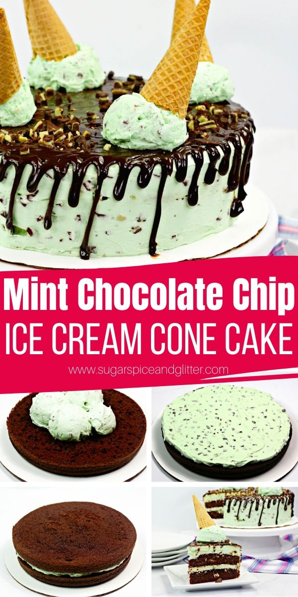 How to make an Ice Cream Cone Cake - this one is a decadent Mint Chocolate Chip Cake with not-too-sweet swiss meringue buttercream and tender chocolate cake that just melts in your mouth