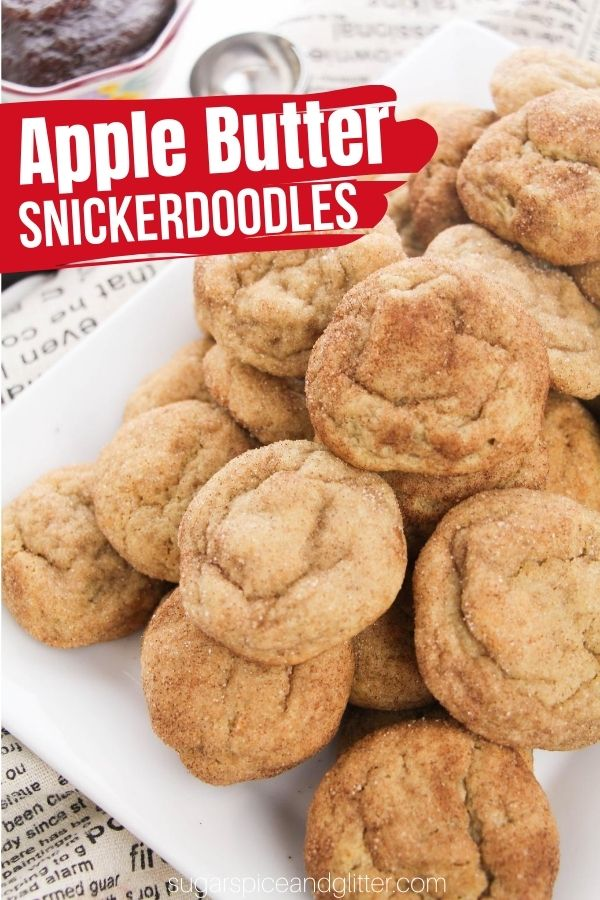 A delicious and tender snickerdoodle cookie recipe with amazing depth of flavor thanks to the rich taste of apple butter and a generous apple pie spice and sugar coating. This apple butter dessert is a guaranteed family favorite