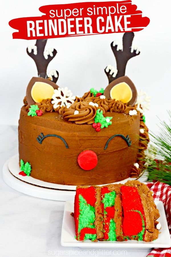 A crazy simple Christmas Cake that your family won't believe didn't come from a bakery! This Rudolph Reindeer Cake is super simple to make and is the perfect centerpiece for your Christmas party