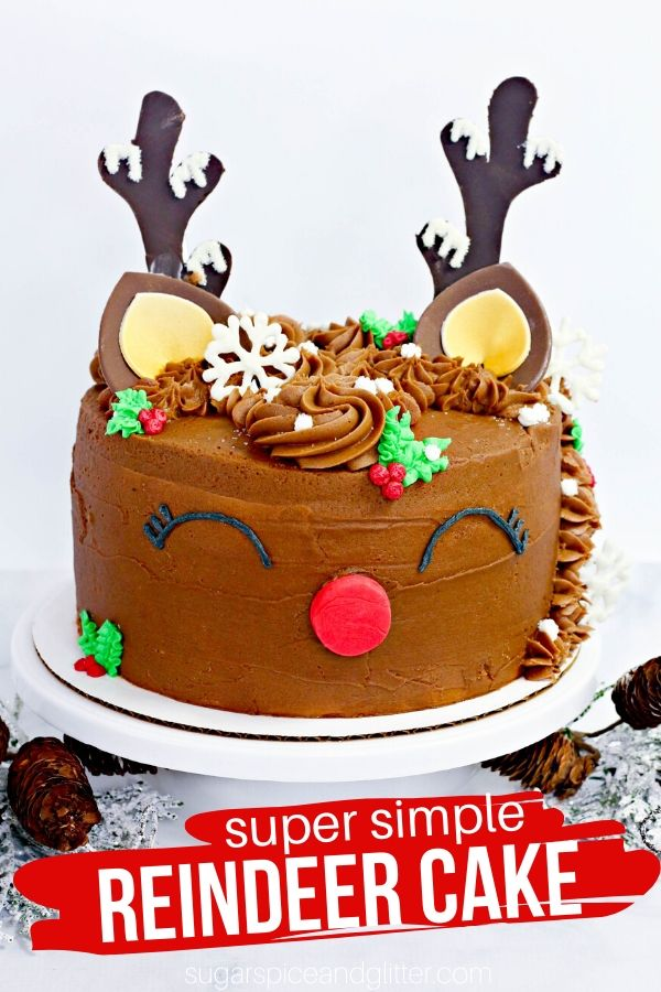 You won't believe how simple it is to make this cute Reindeer Cake for Christmas! Simply the cutest Christmas cake recipe out there - perfect for a Christmas party