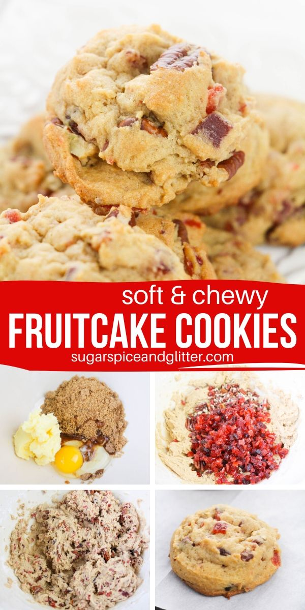 The perfect unique Christmas cookie recipe to bring to your Cookie Exchange, these Fruitcake Cookies incorporate the candied fruit and nuts from fruitcake into a delicious chewy cookie!