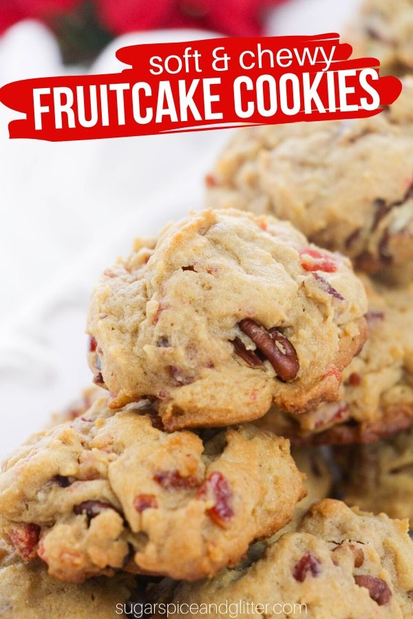A quick and easy Christmas cookie recipe, these Fruitcake Cookies are soft, chewy and full of fun mix-ins. They are a unique cookie to add to your Christmas cookie baking