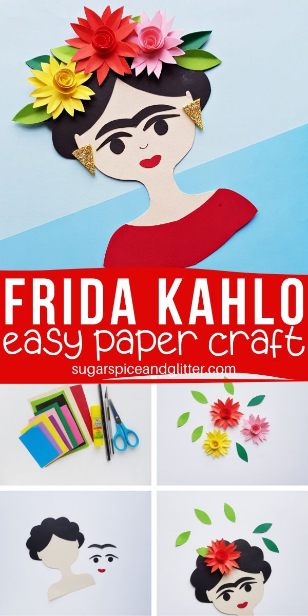 How to make a Frida Kahlo Paper Craft, a simple craft for an artist study using a free printable template. The 3D flowers can also be made separately to add to a self-portait