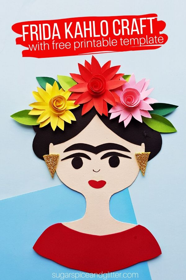 A gorgeous kid-made Frida Kahlo Craft with free printable template, perfect for doing during a Frida Kahlo artist study or when learning about Mexican art. Frame, make into a magnet or give as a special handmade card