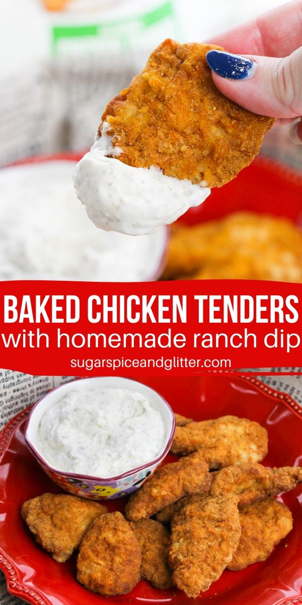 A healthy swap, these Baked Chicken Tenders are out of this world delicious when paired with this simple homemade ranch dip - amazing flavor and super creamy
