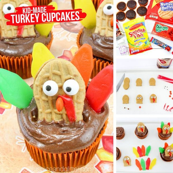 A fun and super simple Thanksgiving dessert kids can make, these Turkey Cupcakes are a fun addition to your Thanksgiving dessert table