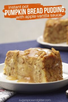 Pumpkin Bread Pudding with Apple–Vanilla Sauce