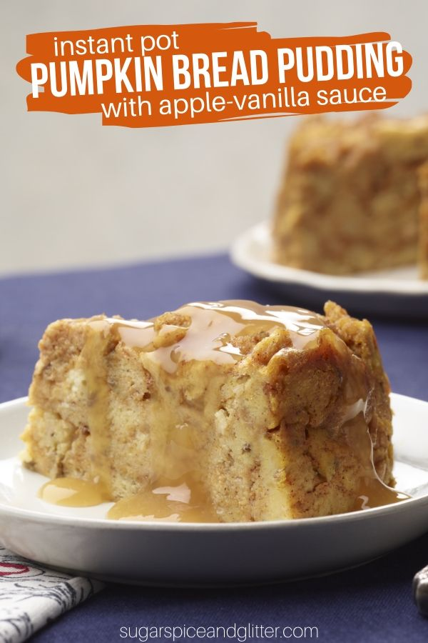 The easiest bread pudding recipe you will ever make - Pumpkin Bread Pudding in the Instant Pot! A super simple Instant Pot Dessert Recipe when you want something comforting and easy