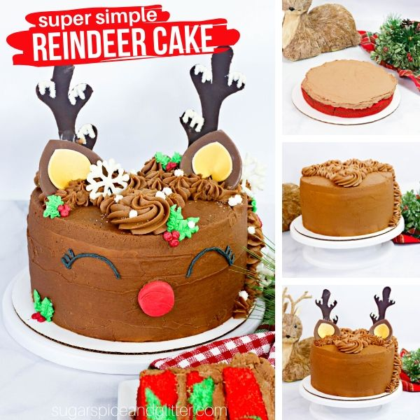 A step-by-step tutorial for how to make this super simple Reindeer Cake for your Christmas party. The cutest Christmas cake ever!