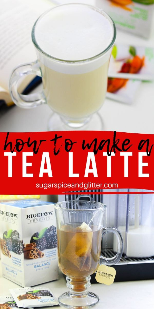 A super simple tutorial for how to make a tea latte at home, no latte maker required!