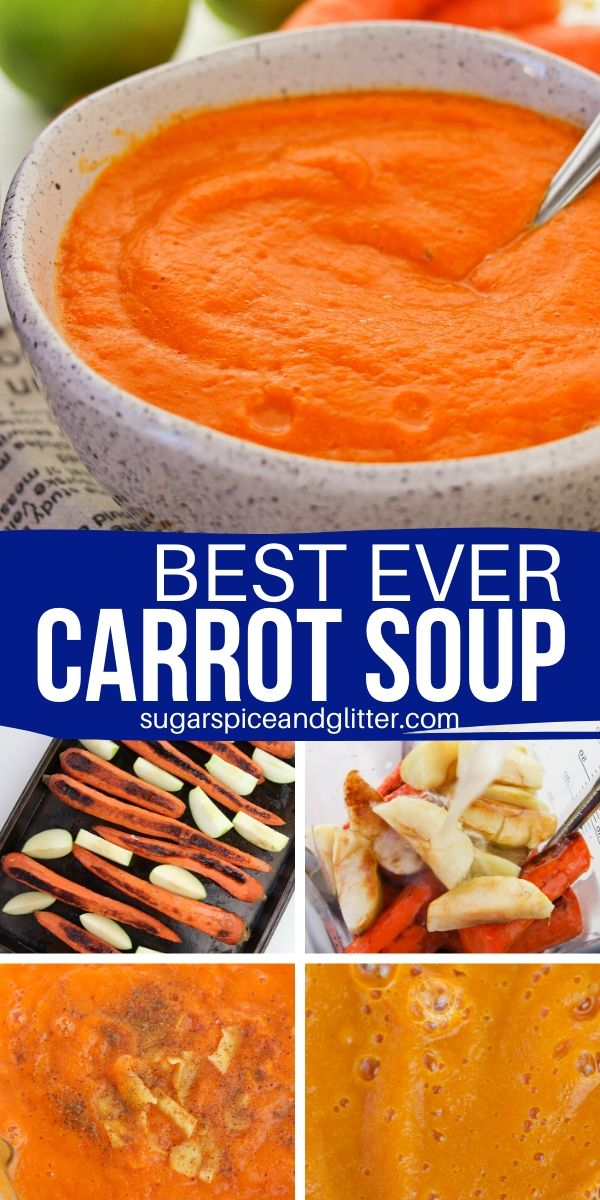 This roasted carrot soup is the perfect comfort food for fall - and the best carrot recipe you'll try! A creamy and decadent soup recipe with a bit of heat and tartness, perfect for those of us who aren't huge carrot fans (dariy-free, gluten-free, vegan)