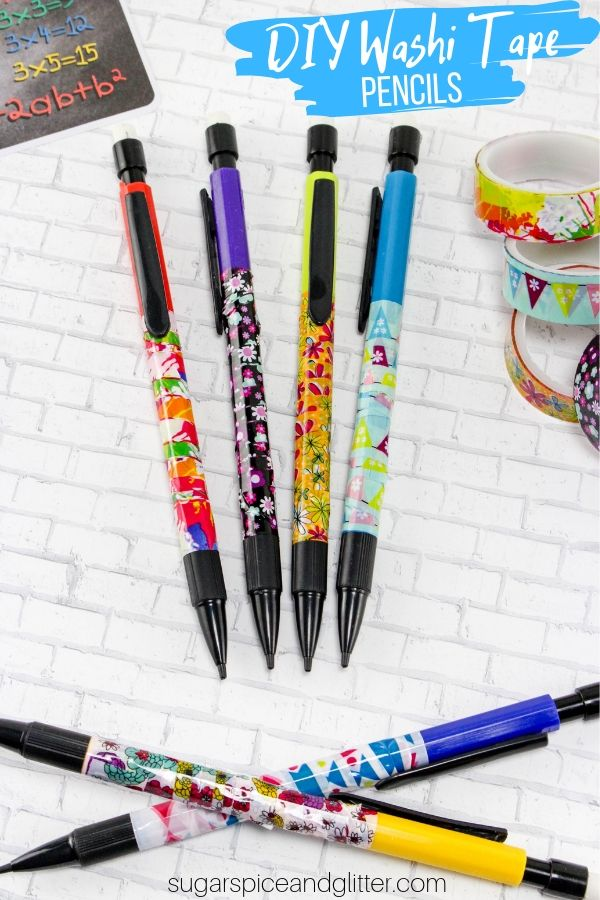 A fun DIY school supply, these DIY Washi Tape pencils are a cheap way to customize your kids' school supplies without splurging for personalized pencils.