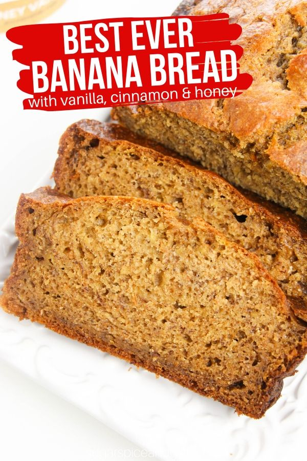 This super simple banana bread recipe uses yogurt to make it soft and tender. With hints of cinnamon, honey and vanilla, this is the best banana bread you will ever make!