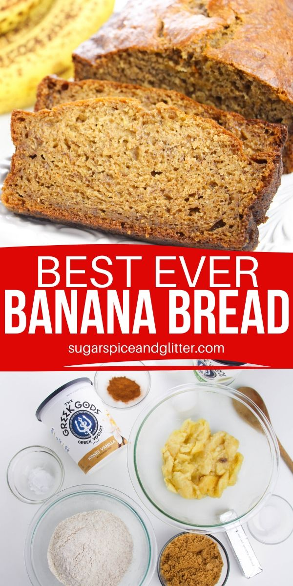 Melt-in-your-mouth banana bread with hints of cinnamon, honey and vanilla. Simply the BEST Banana Bread recipe you will ever make