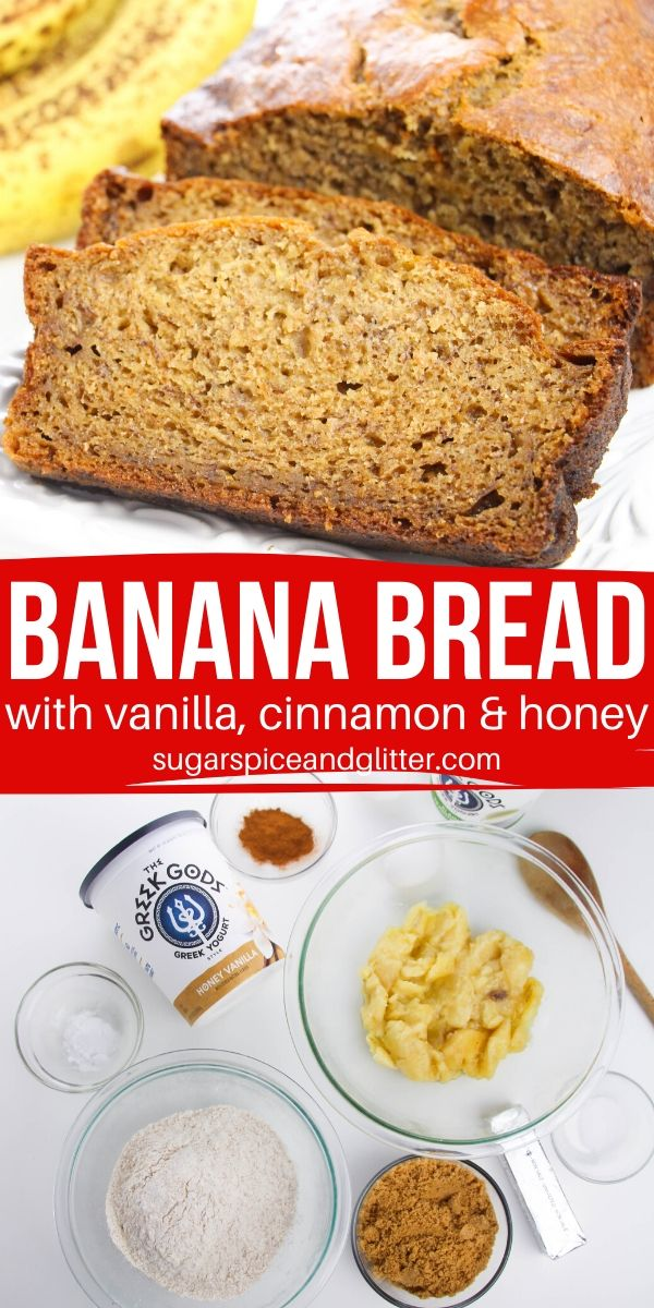 The best, most tender Banana Bread recipe you will ever make. This banana bread with yogurt has hints of cinnamon, honey and vanilla