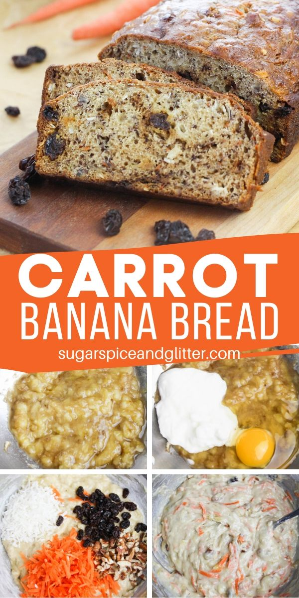 All the warm flavors of carrot cake combined with the tender texture of banana bread, this Carrot Banana Bread is a delicious breakfast loaf or afternoon snack to satisfy your carrot cake cravings