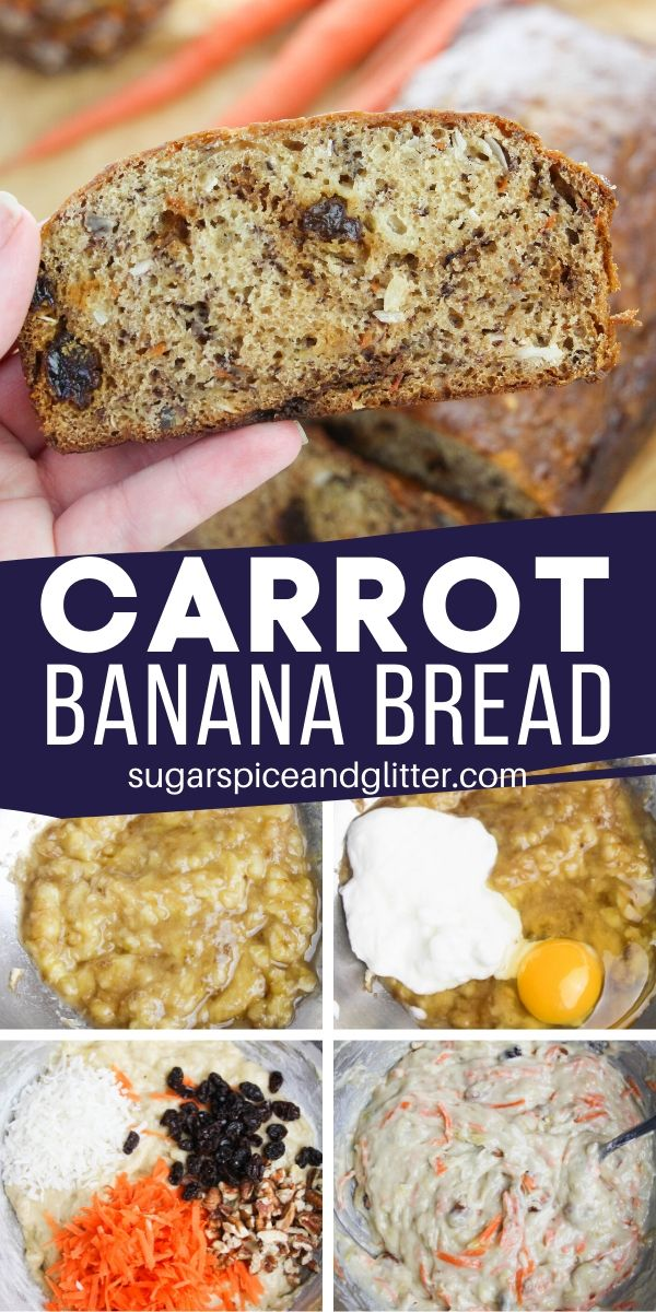 Tender banana bread with all of the flavors and mix-ins of carrot cake! This unique banana bread is the perfect option if you're craving carrot cake but don't have the time to make it, a quick bread recipe ready to bake in less than 10 minutes