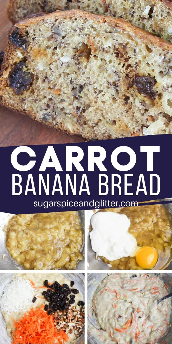All the warm flavors of carrot cake combined with the tender texture of banana bread, this Carrot Banana Bread is a delicious way to satisfy your carrot cake cravings