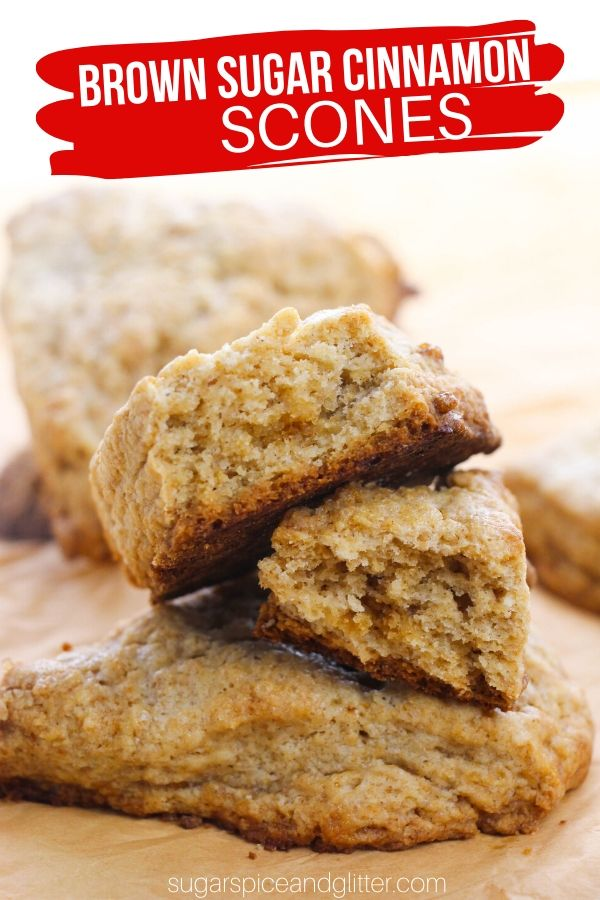 Tender and buttery brown sugar cinnamon scones - better than you can buy at the coffeeshop! These super simple scones come together in less than 15 minutes and are a delightful addition to your brunch or afternoon coffee