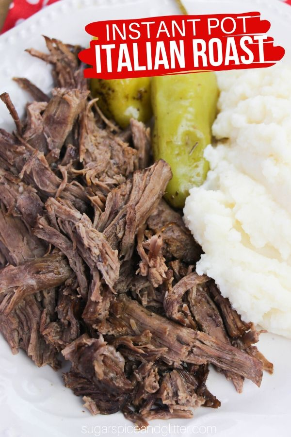 A delicious Instant Pot roast recipe that can be served as a traditional roast or made into Italian Beef Sandwiches, this Instant Pot Italian Pot Roast is fork-tender and full of flavor!