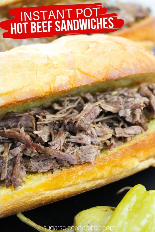 Simply the BEST Instant Pot Sandwich recipe - hot Italian beef sandwiches with the perfect amount of zip and flavor! The cooking juices also make an incredible sandwich dip. This Instant Pot Sandwich recipe is guaranteed to be a new family favorite - and perfect for party sandwiches, too!