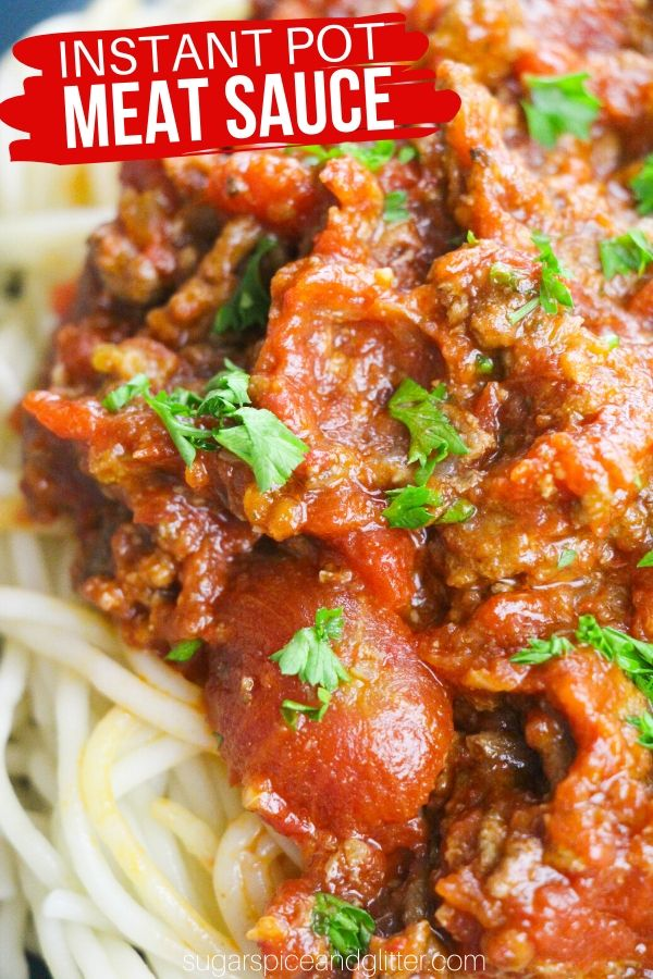 The best Instant Pot Meat Sauce recipe, this hearty and flavorful pasta sauce is ready to enjoy in less than 30 minutes and is the perfect easy weeknight meal for busy families
