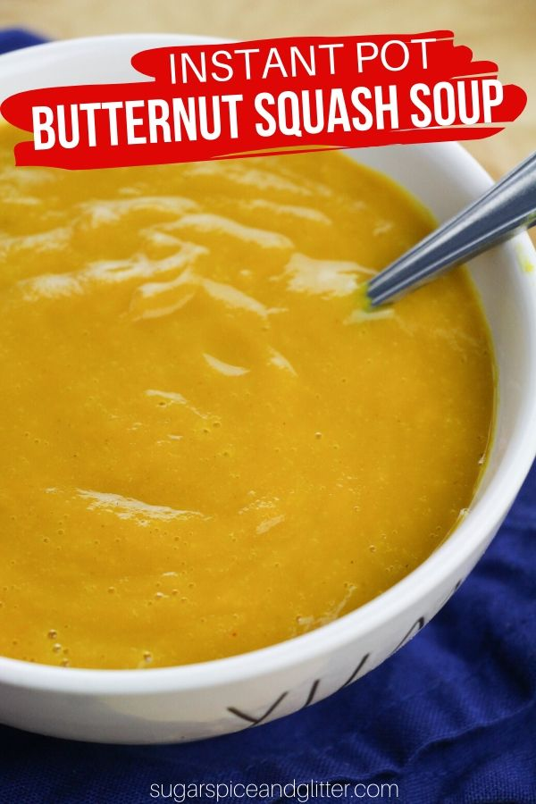 A super simple recipe for an Instant Pot Butternut Squash Soup. The butternut squash can be roasted or steamed, resulting in a velvety smooth and delicious soup that the whole family will love - includes directions for steaming squash in the Instant Pot