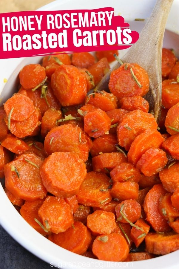 A super simple 5-ingredient carrot recipe for roasted honey glazed carrots with rosemary, a sweet and earthy take on a classic roasted carrot that is more balanced that traditional candied carrots.