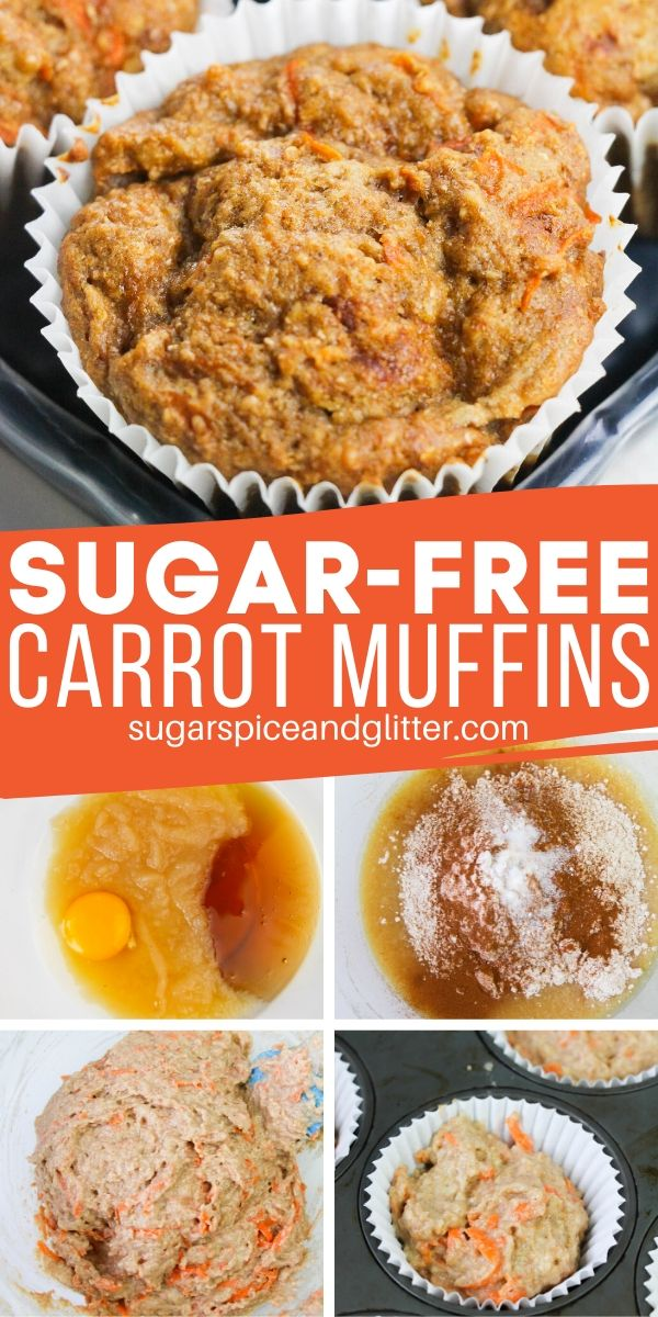 These Sugar-free Carrot Muffins taste indulgent but pack a nutritional wallop thanks to whole grains, plenty of carrots, and honey as a natural sweetener