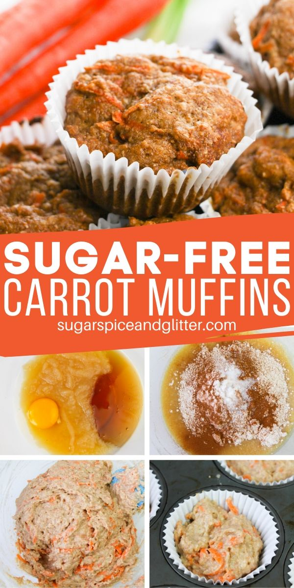 Everything you want in an indulgent carrot muffin, without the sugar or white flour! A delicious sugar-free carrot muffin perfect for a healthy breakfast or lunch box option
