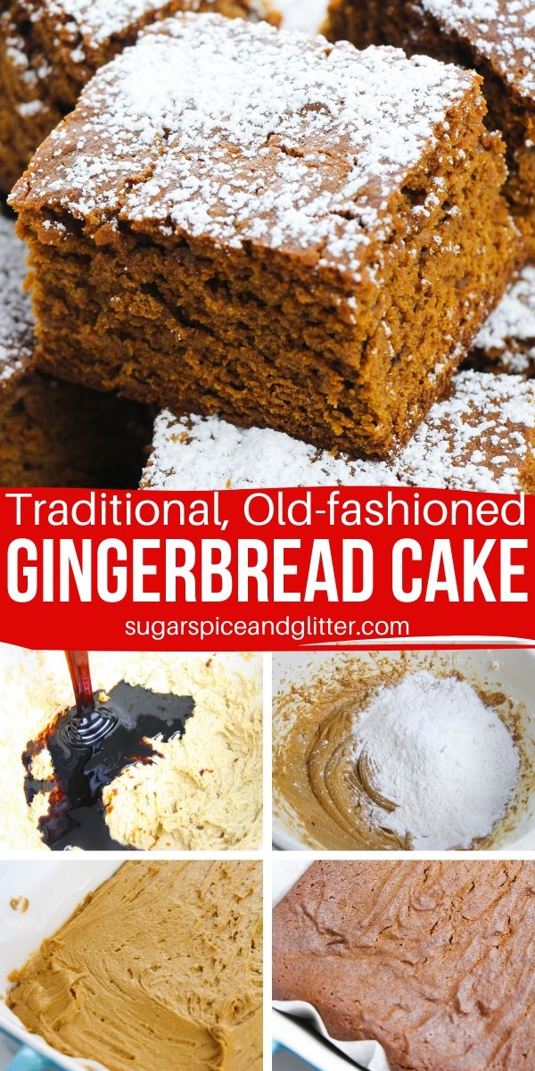 Flavorful, chewy and dense Gingerbread Cake just like you find at Christmas markets! An easy recipe for old-fashioned Gingerbread cake